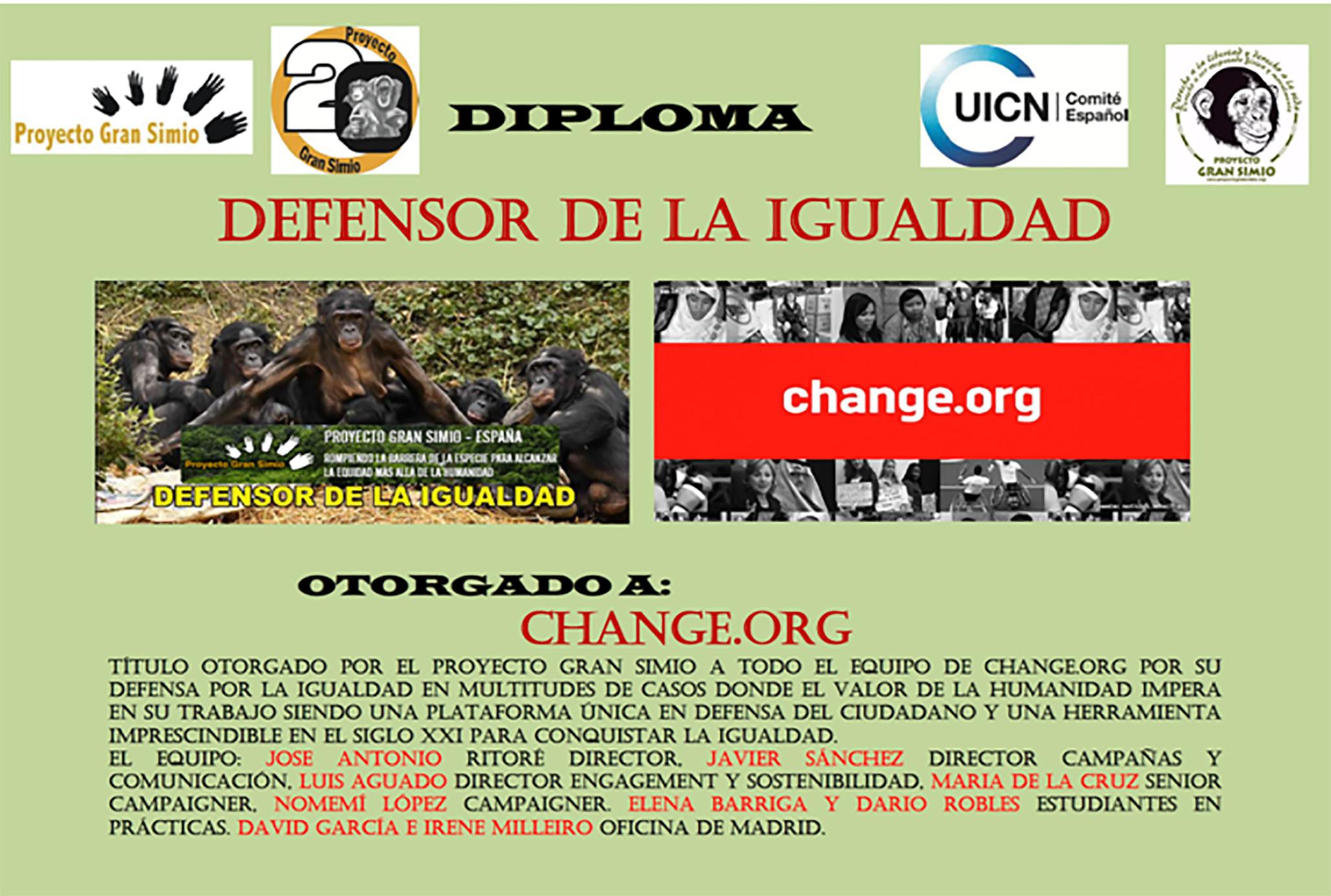 """PROYECTO GRAN SIMIO CONCEDE EN SU 20 ANIVERSARIO, EL DIPLOMA """"DEFENSOR DE LA IGUALDAD"""", AL EQUIPO DE CHANGE.ORG"""